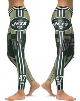 DBAQ040 High Waist NFL New York Jets Football Team 4Needle 6Thread Stitcking Sports Leggings
