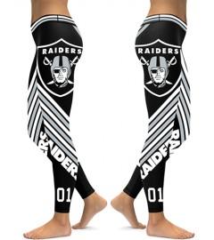 DBAQ041 High Waist NFL Oakland Raiders Football Team 4Needle 6Thread Stitcking Sports Leggings