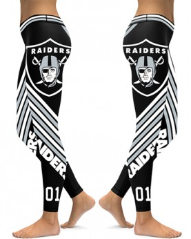 DBAQ041 High Waist NFL Oakland Raiders Football Team 4Needle 6Thread Stitcking Sports Leggings
