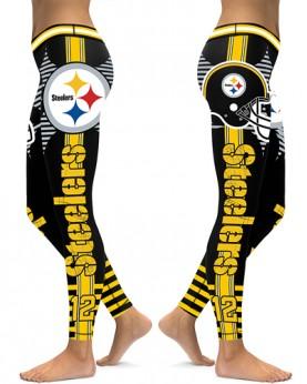 DBAQ042 High Waist NFL Pittsburgh Steelers Football Team 4Needle 6Thread Stitcking Sports Leggings