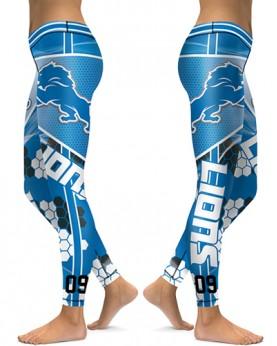 DBAQ047 High Waist NFL Detroit Lions Football Team 4Needle 6Thread Stitcking Sports Leggings