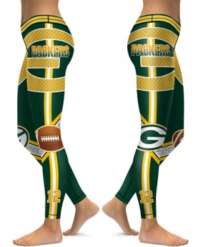DBAQ051 High Waist NFL Green Bay Packers Football Team 4Needle 6Thread Stitcking Sports Leggings