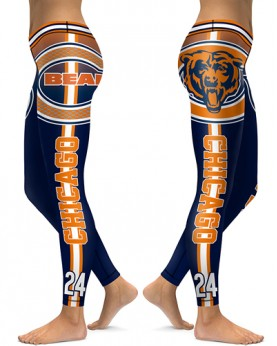 DBAQ055 High Waist NFL Chicago Bears Football Team 4Needle 6Thread Stitcking Sports Leggings