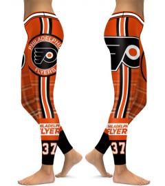 DBAQ087 High Waist NHL Philadelphia Flyers Hockey Team 4Needle 6Thread Stitcking Sports Leggings