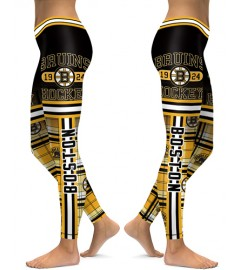 DBAQ104 High Waist NHL Boston Bruins Hockey Team 4Needle 6Thread Stitcking Sports Leggings