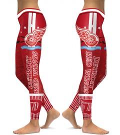 DBAQ106 High Waist NHL Detroit Red Wings Hockey Team 4Needle 6Thread Stitcking Sports Leggings