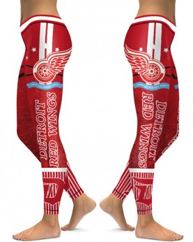 DBAQ106 High Waist NHL Detroit Red Wings Hockey Team 4Needle 6Thread Stitcking Sports Leggings