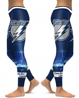 DBAQ111 High Waist NHL Tampa Bay Lightning Hockey Team 4Needle 6Thread Stitcking Sports Leggings