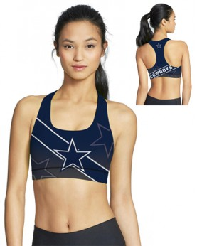 BJG46034 High Quality NFL Dallas Cowboys Football Team 4Needle 6Thread Stitcking Sports Bra