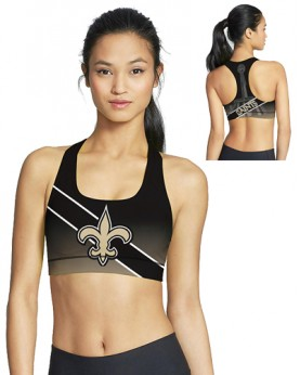 BJG46038 Pre-Order High Quality NFL New Orleans Saints Football Team 4Needle 6Thread Stitcking Sports Bra