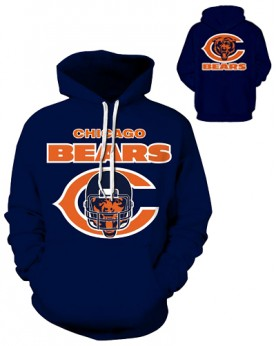 DQYDM183 3D Digital Printed NFL Chicago Bears Football Team Sport Hoodie Unisex Fit Style Hoodie With Hat