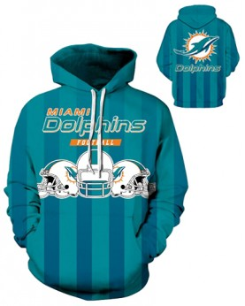 DQYDM185 3D Digital Printed NFL Miami Dolphins Football Team Sport Hoodie Unisex Fit Style Hoodie With Hat