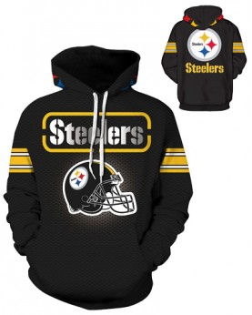 DQYDM189 3D Digital Printed NFL Pittsburgh Steelers Football Team Sport Hoodie Unisex Fit Style Hoodie With Hat