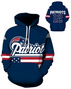 DQYDM194 3D Digital Printed NFL New England Patriots Football Team Sport Hoodie Unisex Fit Style Hoodie With Hat