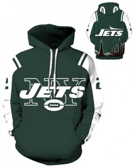 DQYDM195 3D Digital Printed NFL New York Jets Football Team Sport Hoodie Unisex Fit Style Hoodie With Hat