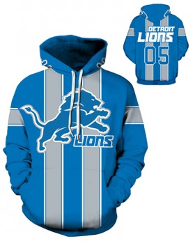 DQYDM198 3D Digital Printed NFL Detroit Lions Football Team Sport Hoodie Unisex Fit Style Hoodie With Hat