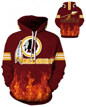 DQYDM200 3D Digital Printed NFL Washington Redskins Football Team Sport Hoodie Unisex Fit Style Hoodie With Hat