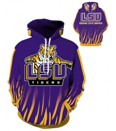 DQYDM288 3D Digital Printed American University LSU Fighting Tigers Team Sport Hoodie Unisex Fit Style Hoodie With Hat