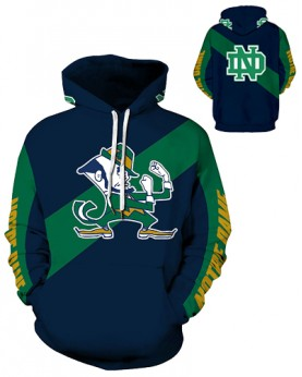 DQYDM329 3D Digital Printed American University Notre Dame Fighting Irish Football Team Sport Hoodie Unisex Hoodie With Hat