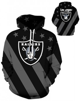DQYDM433 3D Digital Printed NFL Las Vegas Raiders Football Team Sport Hoodie Unisex Fit Style Hoodie With Hat