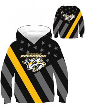 DBHB004 Kids 3D Digital Printed NHL Nashville Predators Hockey Team Sport Hoodie With Hat