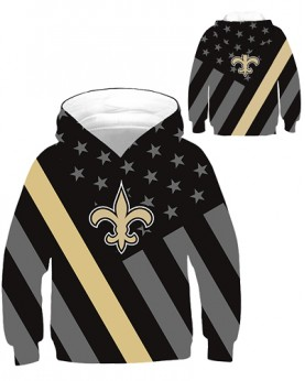 DBHB005 Kids 3D Digital Printed NFL New Orleans Saints Football Team Sport Hoodie With Hat