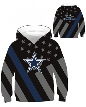 DBHB007 Kids 3D Digital Printed NFL Dallas Cowboys Football Team Sport Hoodie With Hat