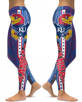 DBAQ030 High Waist American University Kansas Jayhawks 4Needle 6Thread Stitcking College Team Sports Leggings