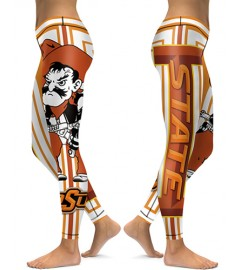 DBAQ031 High Waist American University Oklahoma State Cowboys 4Needle 6Thread Stitcking College Team Sports Leggings