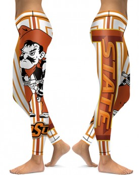 DBAQ031 High Waist American University Oklahoma State Cowboys 4Needle 6Thread Stitcking College Team Sports Leggings