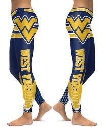 DBAQ032 High Waist American University West Virginia Mountaineers 4Needle 6Thread Stitcking College Team Sports Leggings