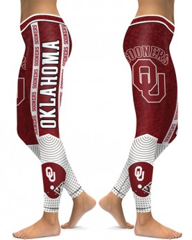 DBAQ117 High Waist American University Oklahoma Sooners 4Needle 6Thread Stitcking College Team Sports Leggings