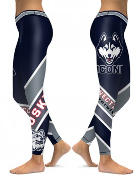 DBAQ138 High Waist American University Connecticut Huskies 4Needle 6Thread Stitcking College Team Sports Leggings