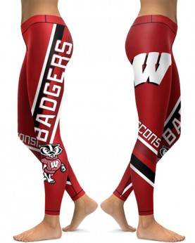 DBAQ156 High Waist American University Wisconsin Badgers 4Needle 6Thread Stitcking College Team Sports Leggings
