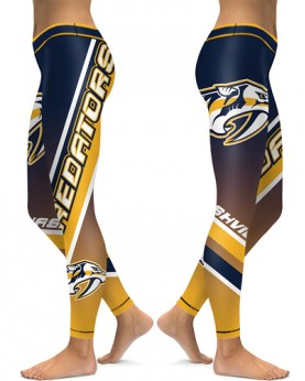 DBAQ165 High Waist NHL Nashville Predators Hockey Team 4Needle 6Thread Stitcking Sports Leggings