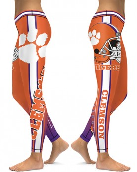 DBAQ503 High Waist American University Clemson Tigers 4Needle 6Thread Stitcking College Team Sports Leggings