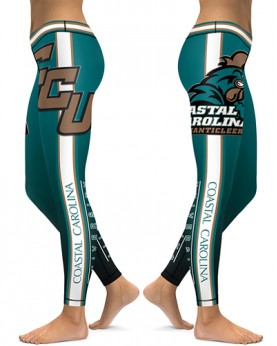 DBAQ504 High Waist American University Coastal Carolina Chanticleers 4Needle 6Thread Stitcking College Team Sports Leggings