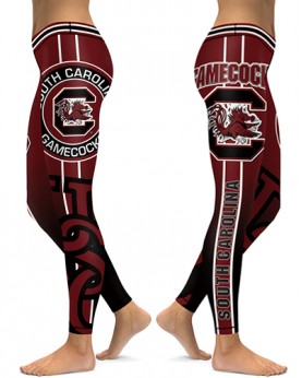 DBAQ505 High Waist American University South Carolina Gamecocks 4Needle 6Thread Stitcking College Team Sports Leggings