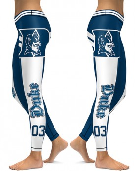 DBAQ510 High Waist American University Duke Blue Devils 4Needle 6Thread Stitcking College Team Sports Leggings