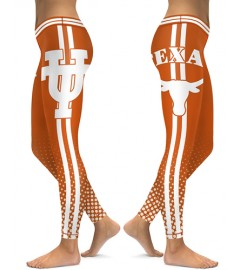 DBAQ523 High Waist American University Texas Longhorns 4Needle 6Thread Stitcking College Team Sports Leggings