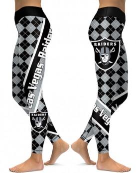 DBAQ526 High Waist NFL Las Vegas Raiders Football Team 4Needle 6Thread Stitcking Sports Leggings