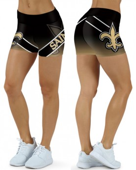 DBDQ009 High Waist NFL New Orleans Saints Football Team 4Needle 6Thread Stitcking Sports Shorts