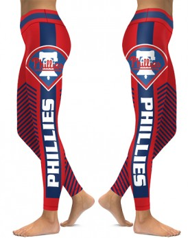 DBAQ535 High Waist MLB Philadelphia Phillies Baseball Team 4Needle 6Thread Stitcking Sports Leggings
