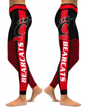 DBAQ545 High Waist American University Cincinnati Bearcats 4Needle 6Thread Stitcking College Team Sports Leggings
