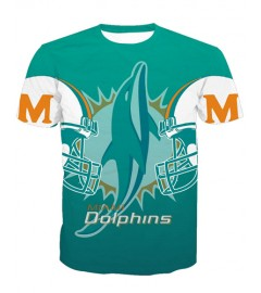 LNTX11210 3D Digital Printed NFL Miami Dolphins Football Team Sport Unisex T-shirt