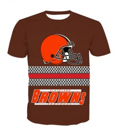 LNTX11211 3D Digital Printed NFL Cleveland Browns Football Team Sport Unisex T-shirt