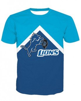 LNTX11218 3D Digital Printed NFL Detroit Lions Football Team Sport Unisex T-shirt