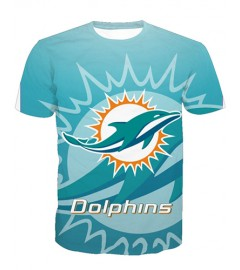 LNTX11220 3D Digital Printed NFL Miami Dolphins Football Team Sport Unisex T-shirt