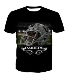 LNTX11224 3D Digital Printed NFL Oakland Raiders Football Team Sport Unisex T-shirt