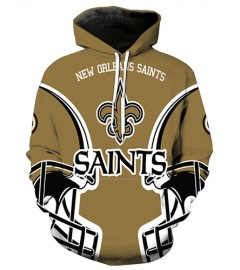 FGA7419 3D Digital Printed NFL New Orleans Saints Football Team Sport Hoodie With Hat
